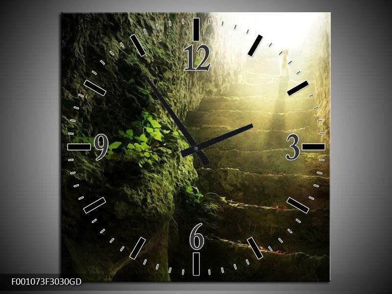 Wandklok op Glas Landschap | Kleur: Groen, Grijs, Wit | F001073CGD