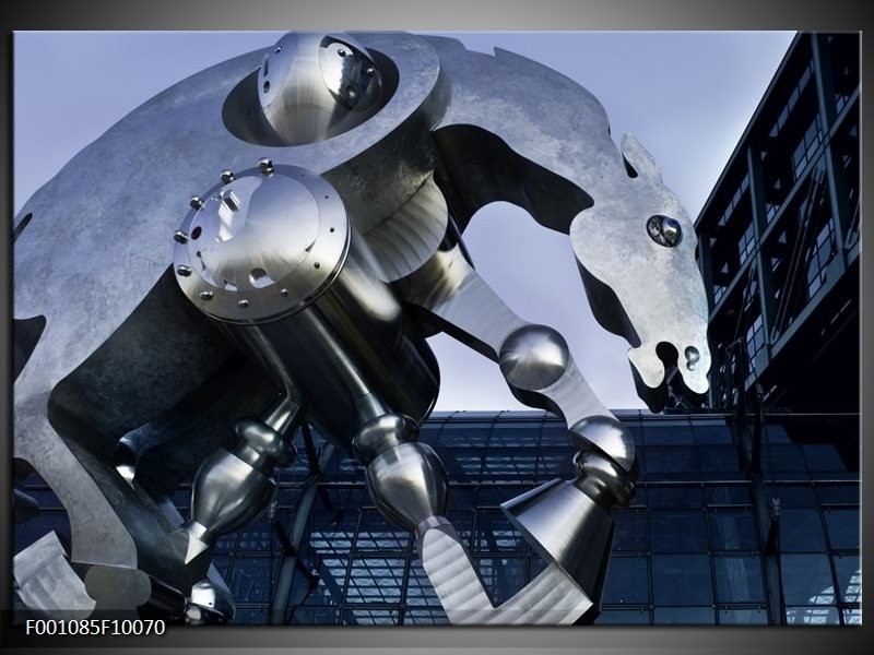 Glas schilderij Robot | Grijs, Wit