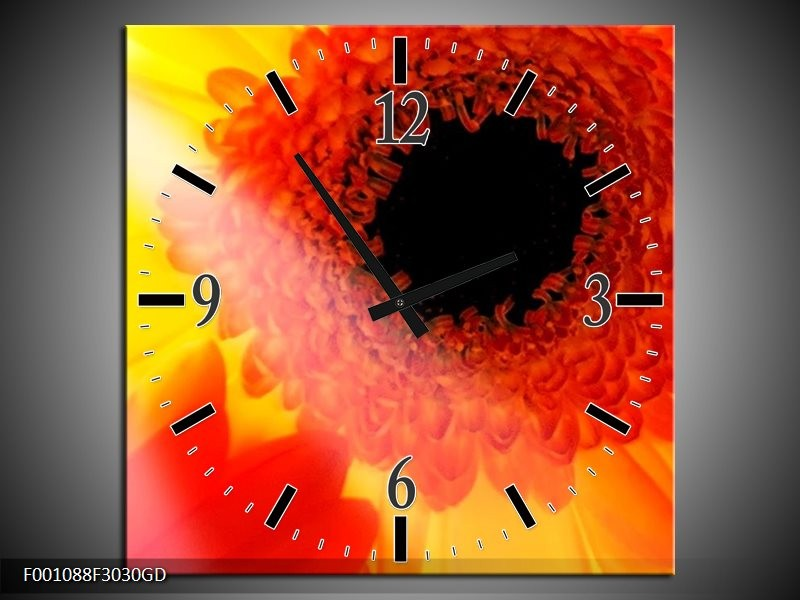 Wandklok op Glas Bloem | Kleur: Geel, Zwart, Rood | F001088CGD
