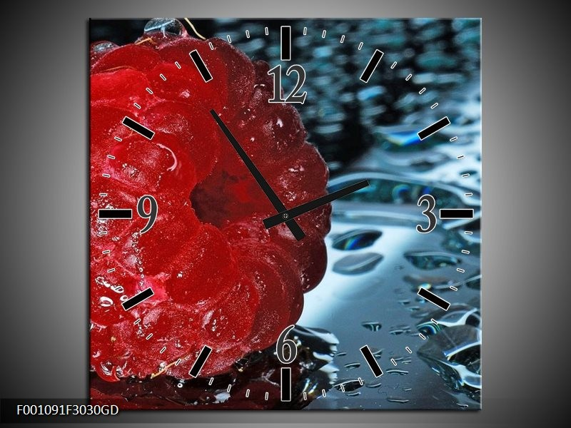 Wandklok op Glas Fruit | Kleur: Rood, Grijs, Wit | F001091CGD