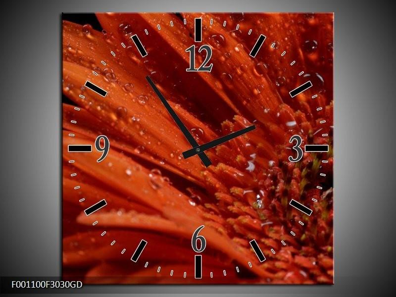 Wandklok op Glas Bloem   Kleur: Rood, Zwart   F001100CGD
