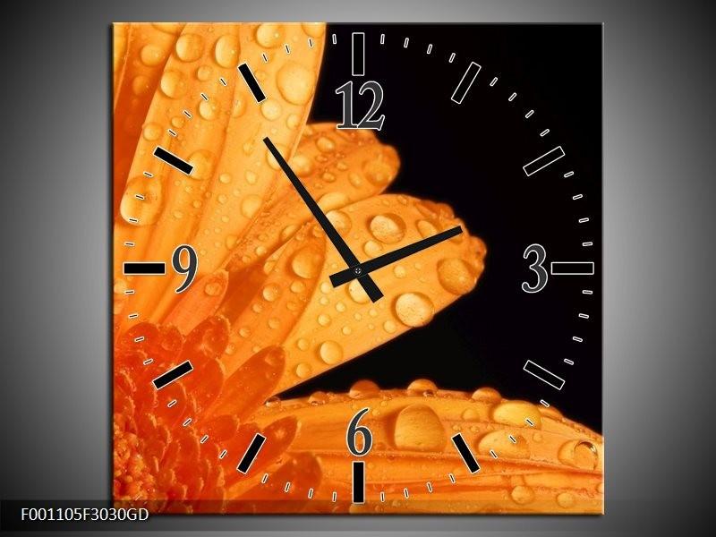 Wandklok op Glas Bloem | Kleur: Zwart, Oranje | F001105CGD