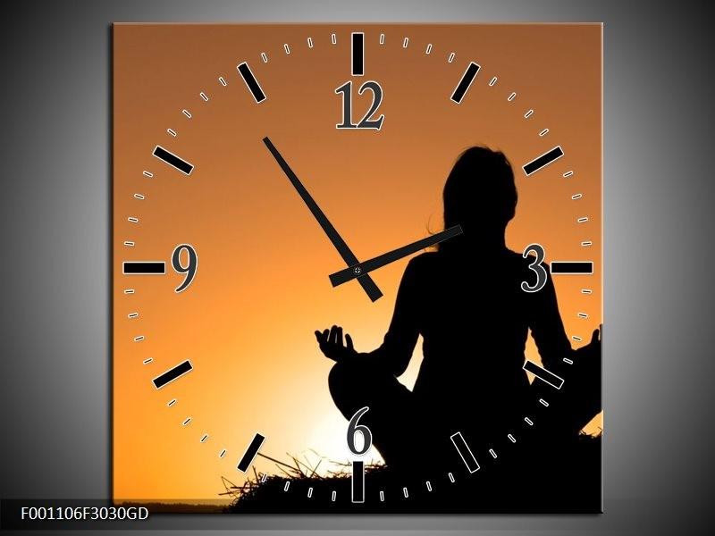 Wandklok op Glas Yoga | Kleur: Zwart, Wit, Geel | F001106CGD