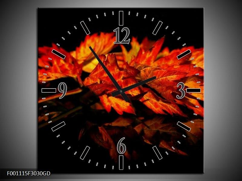 Wandklok op Glas Herfstblad | Kleur: Rood, Zwart, Oranje | F001115CGD