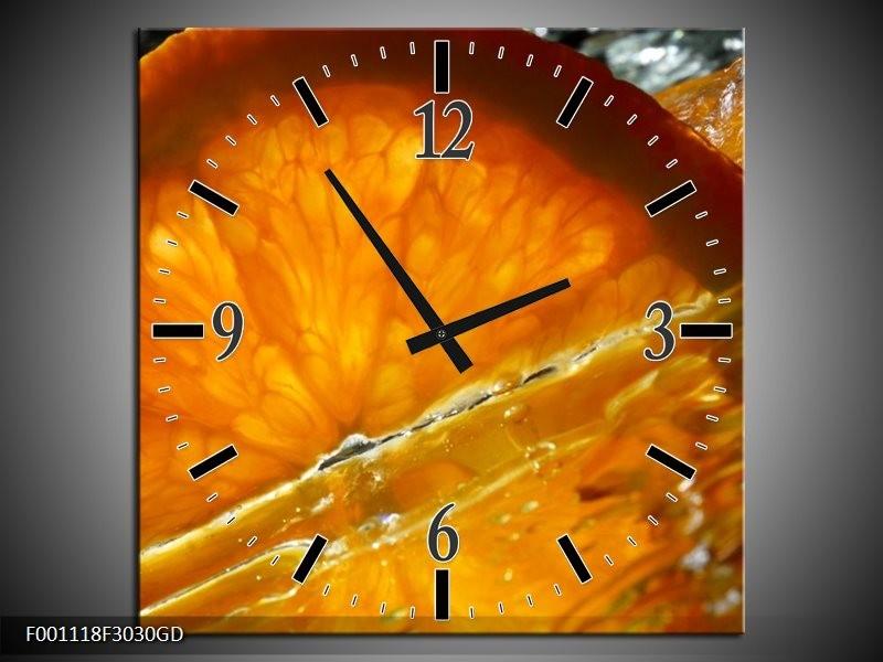 Wandklok op Glas Fruit   Kleur: Geel, Oranje   F001118CGD
