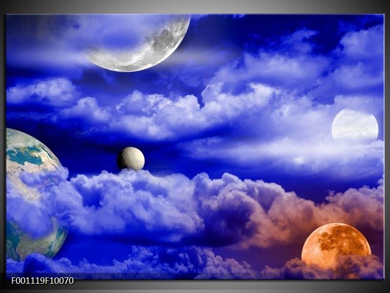 Glas schilderij Planeet | Blauw, Wit