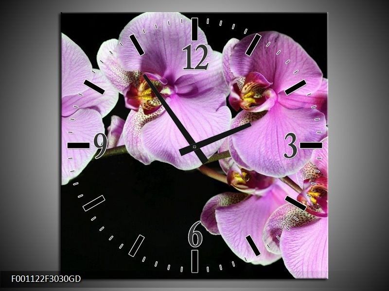 Wandklok op Glas Orchidee | Kleur: Zwart, Paars, Wit | F001122CGD