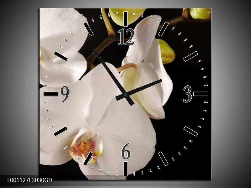 Wandklok op Glas Orchidee | Kleur: Wit, Zwart | F001127CGD