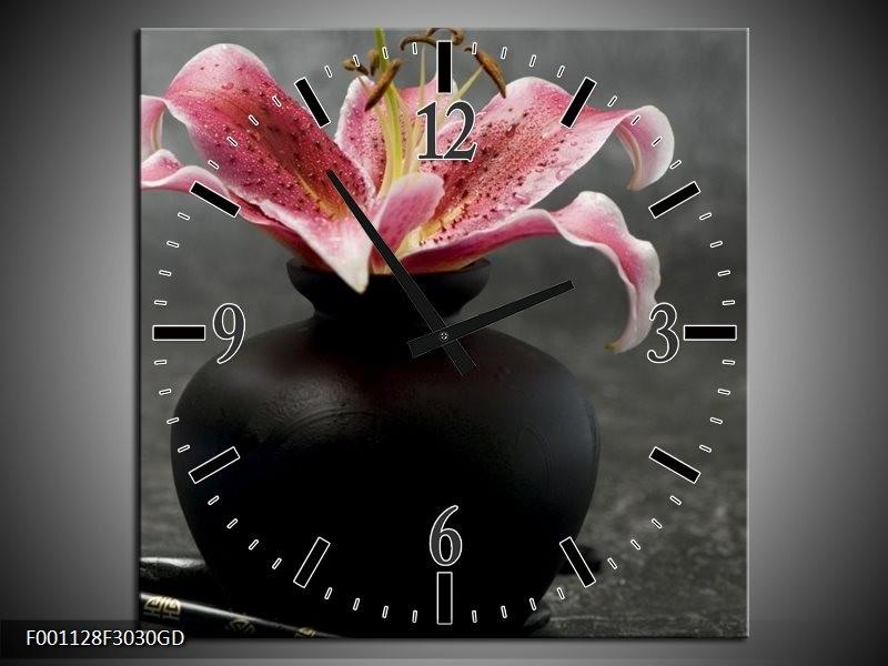 Wandklok op Glas Bloem | Kleur: Zwart, Rood, Grijs | F001128CGD