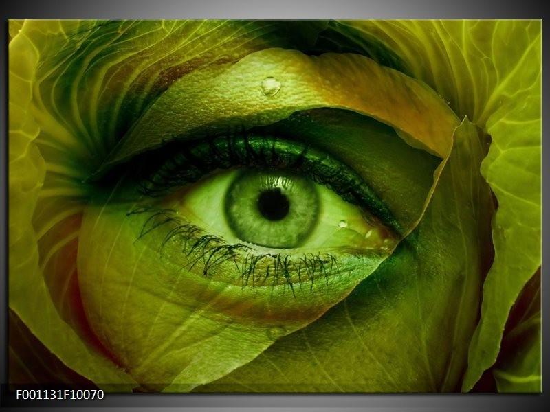 Glas schilderij Oog | Groen, Bruin