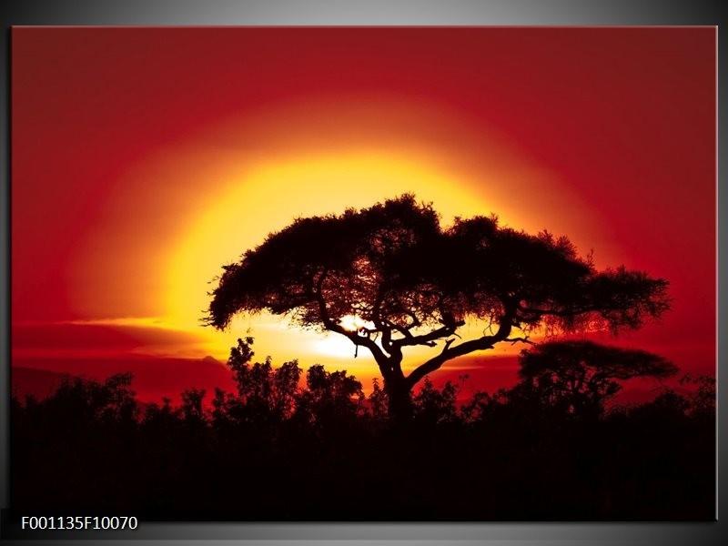 Glas schilderij Zonsondergang | Zwart, Geel, Rood