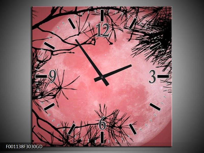 Wandklok op Glas Maan | Kleur: Zwart, Paars, Rood | F001138CGD