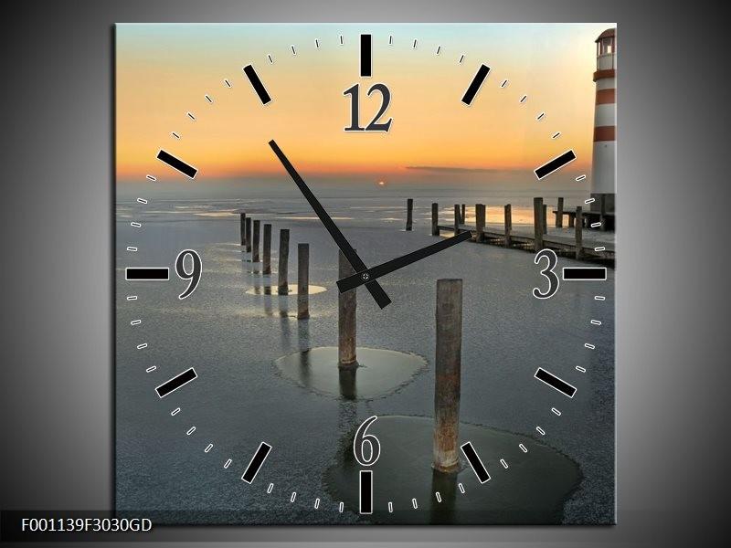 Wandklok op Glas Zee | Kleur: Grijs, Geel | F001139CGD