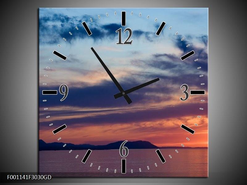 Wandklok op Glas Zonsondergang | Kleur: Blauw, Grijs, Geel | F001141CGD