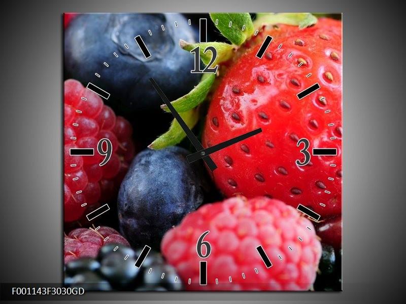 Wandklok op Glas Fruit | Kleur: Rood, Blauw | F001143CGD
