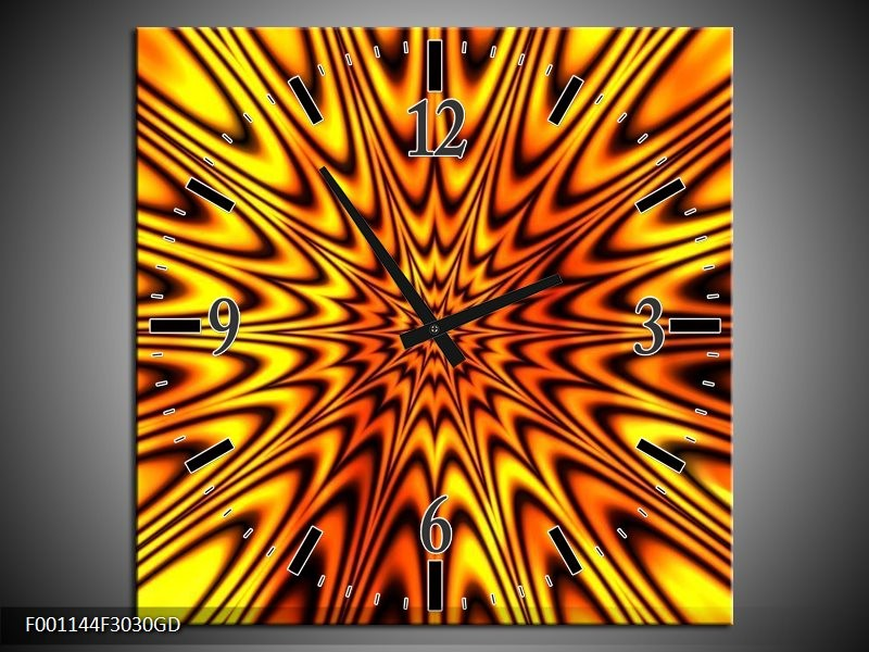 Wandklok op Glas Abstract | Kleur: Geel, Bruin | F001144CGD