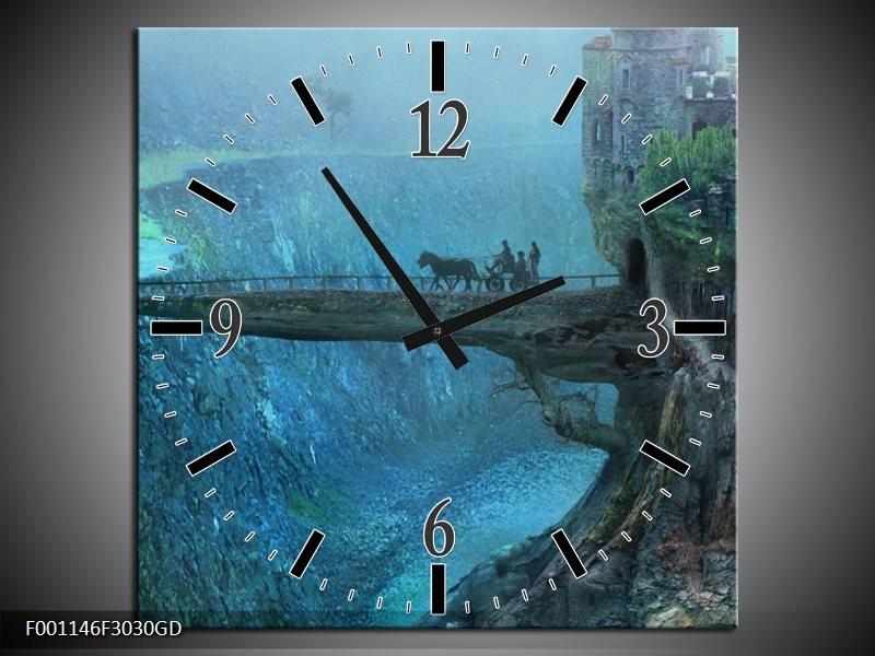 Wandklok op Glas Landschap | Kleur: Groen, Grijs | F001146CGD