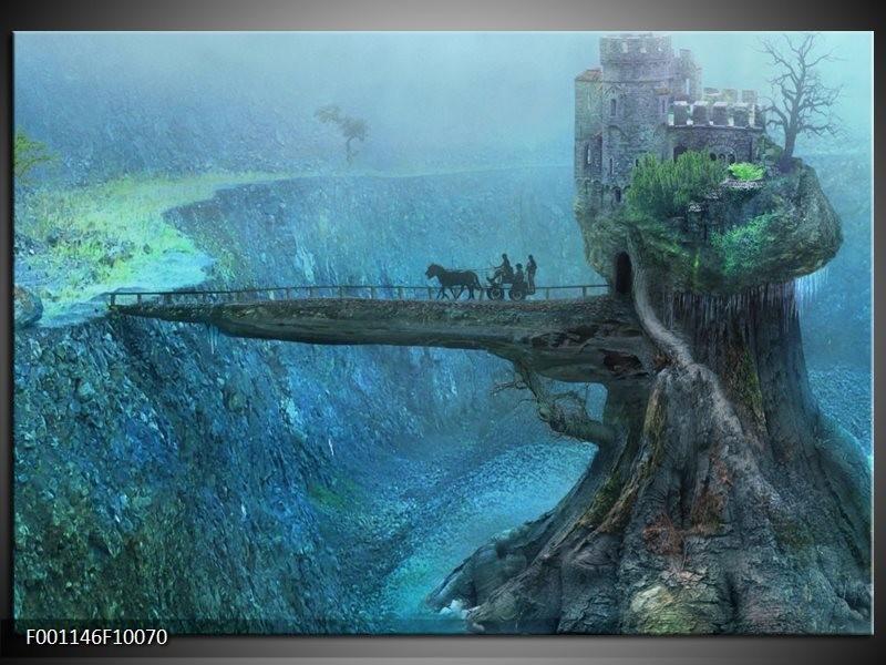 Glas schilderij Landschap | Groen, Grijs