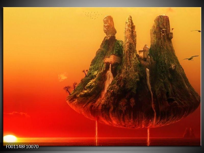 Glas schilderij Abstract | Rood, Groen
