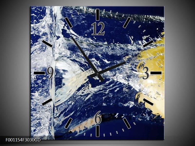 Wandklok op Glas Citroen   Kleur: Blauw, Geel, Grijs   F001154CGD