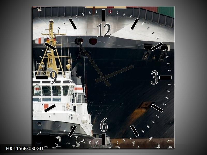 Wandklok op Glas Boot | Kleur: Wit, Zwart, Grijs | F001156CGD