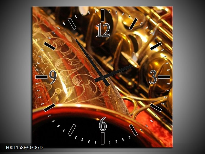 Wandklok op Glas Muziek | Kleur: Goud, Rood, Zwart | F001158CGD
