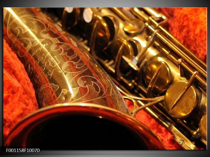 Glas schilderij Muziek | Goud, Rood, Zwart