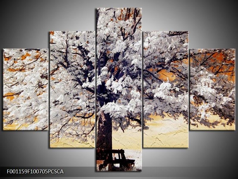 Canvas ART schilderij Boom | Wit, Geel, Zwart | 100x70cm 5Luik