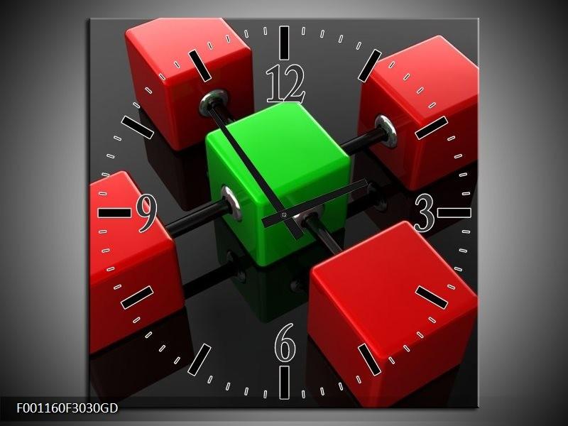 Wandklok op Glas Abstract | Kleur: Rood, Groen, Zwart | F001160CGD