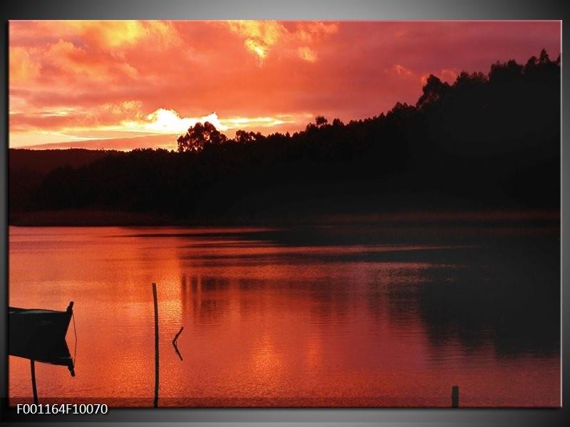 Glas schilderij Zonsondergang | Rood, Zwart, Wit