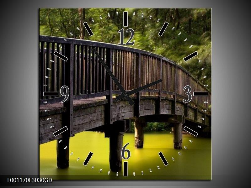 Wandklok op Glas Brug | Kleur: Groen, Grijs | F001170CGD