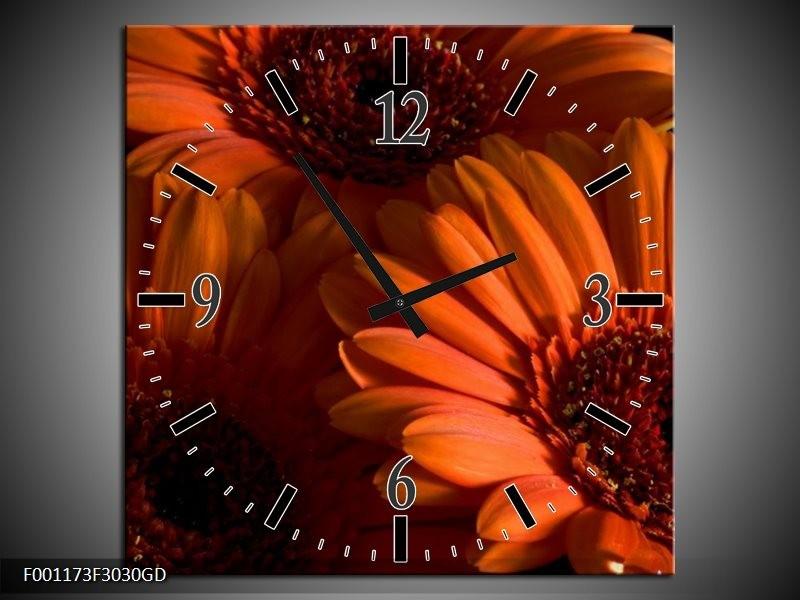 Wandklok op Glas Bloem | Kleur: Oranje, Zwart, Rood | F001173CGD