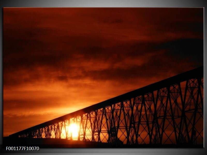 Glas schilderij Zonsondergang | Oranje, Zwart, Wit