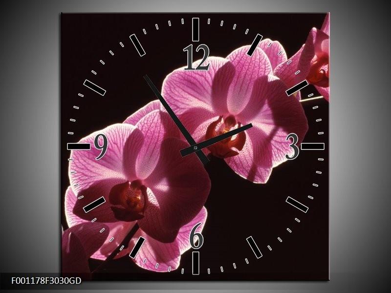 Wandklok op Glas Orchidee | Kleur: Paars, Wit, Zwart | F001178CGD