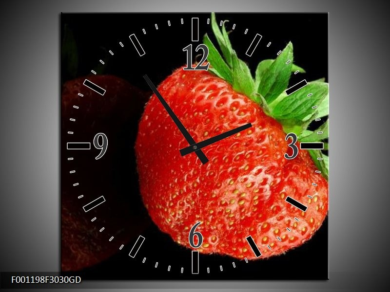 Wandklok op Glas Fruit | Kleur: Rood, Zwart | F001198CGD