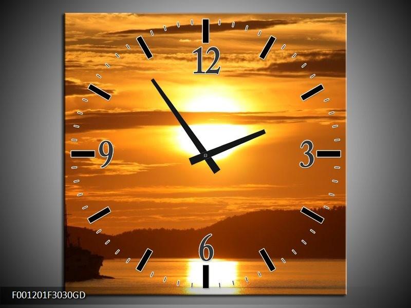 Wandklok op Glas Zonsondergang | Kleur: Geel, Bruin, Zwart | F001201CGD