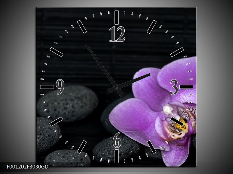 Wandklok op Glas Orchidee | Kleur: Paars, Wit, Grijs | F001202CGD