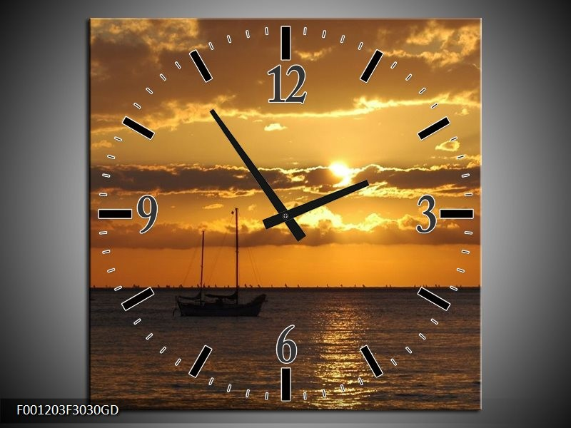 Wandklok op Glas Zonsondergang | Kleur: Geel, Bruin, Grijs | F001203CGD