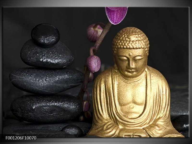 Glas schilderij Boeddha | Goud, Zwart, Paars