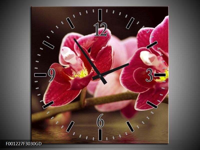 Wandklok op Glas Orchidee | Kleur: Zwart, Rood | F001227CGD