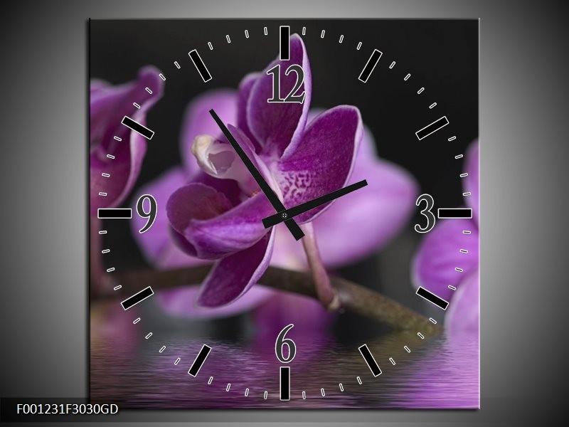 Wandklok op Glas Orchidee | Kleur: Paars, Zwart | F001231CGD