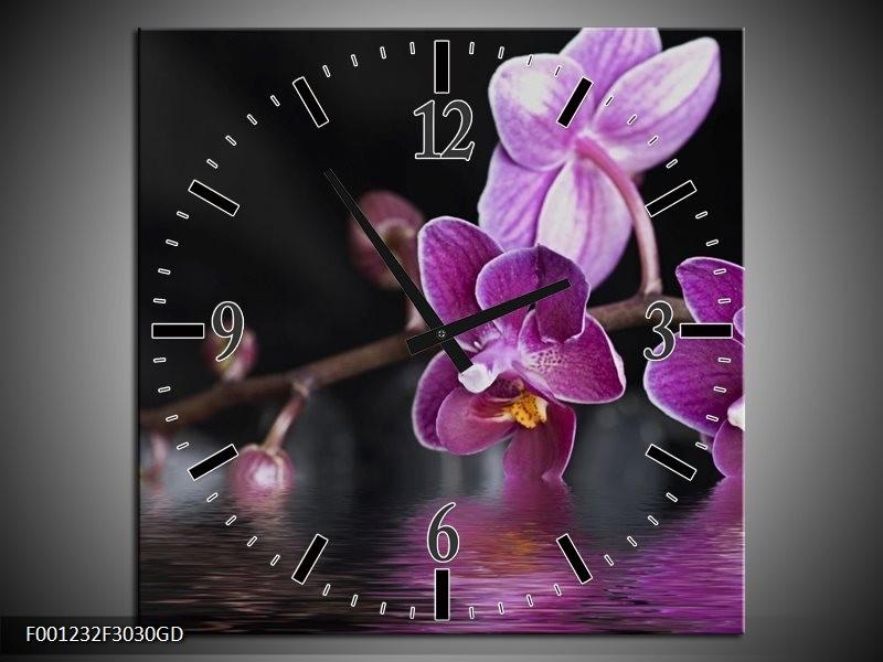 Wandklok op Glas Orchidee   Kleur: Paars, Zwart, Wit   F001232CGD