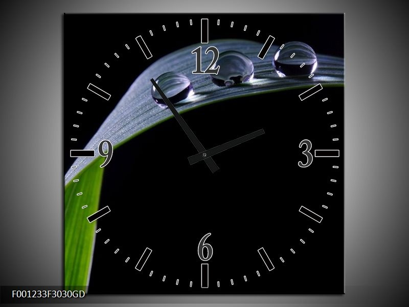 Wandklok op Glas Druppels   Kleur: Zwart, Groen, Grijs   F001233CGD