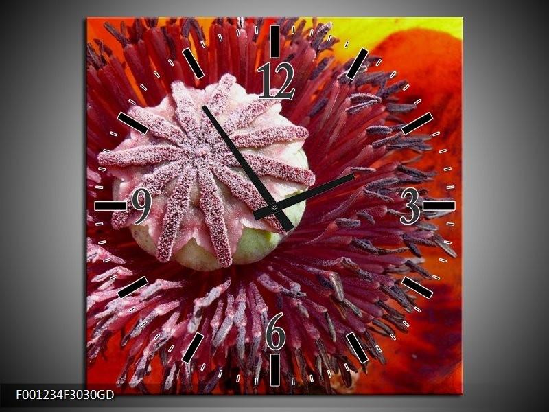 Wandklok op Glas Bloem | Kleur: Rood, Grijs, Wit | F001234CGD