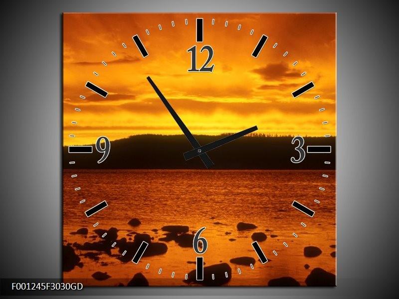 Wandklok op Glas Zee | Kleur: Zwart, Geel, Oranje | F001245CGD
