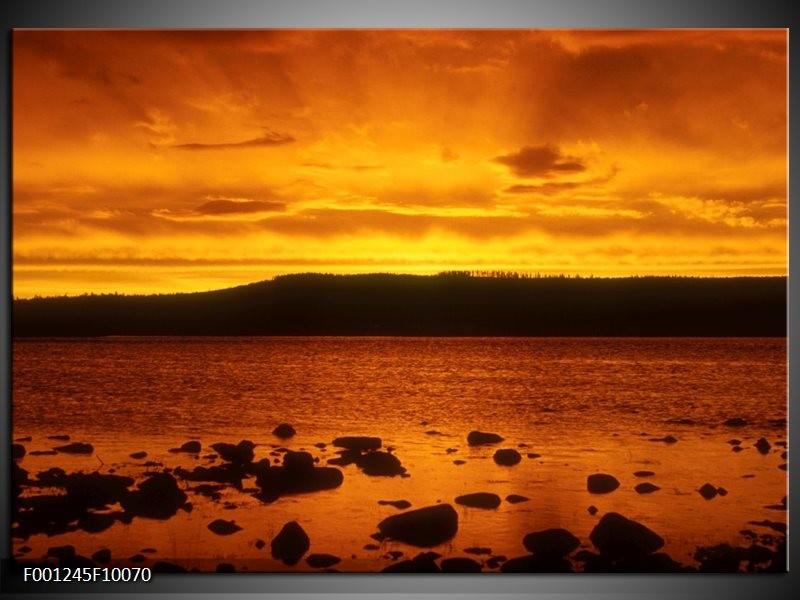 Glas schilderij Zee | Zwart, Geel, Oranje