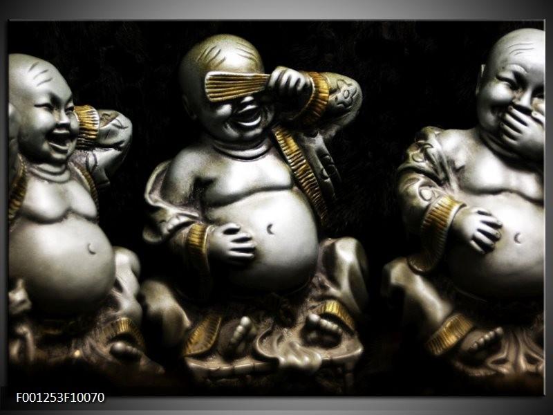 Glas schilderij Boeddha | Zwart, Wit, Goud