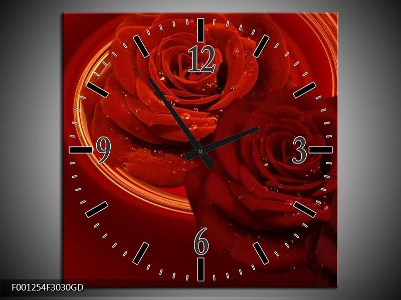 Wandklok op Glas Roos | Kleur: Rood, Oranje | F001254CGD