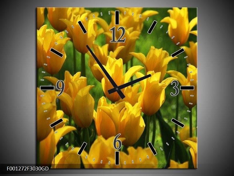 Wandklok op Glas Tulpen | Kleur: Geel, Groen | F001272CGD