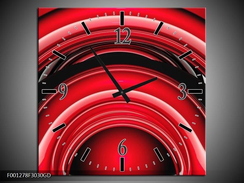 Wandklok op Glas Abstract | Kleur: Rood, Zwart, Wit | F001278CGD